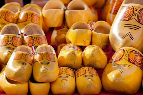 Famous traditional Dutch wooden clogs   Stock Photo