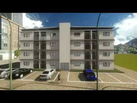 3D apartment building of 32 studio units made with