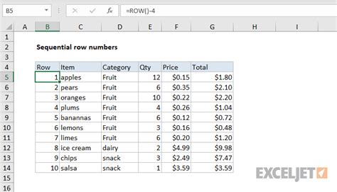 Excel formula: Sequential row numbers   Exceljet
