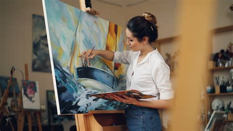 Skillful Female Painter is Working Stock Footage Video