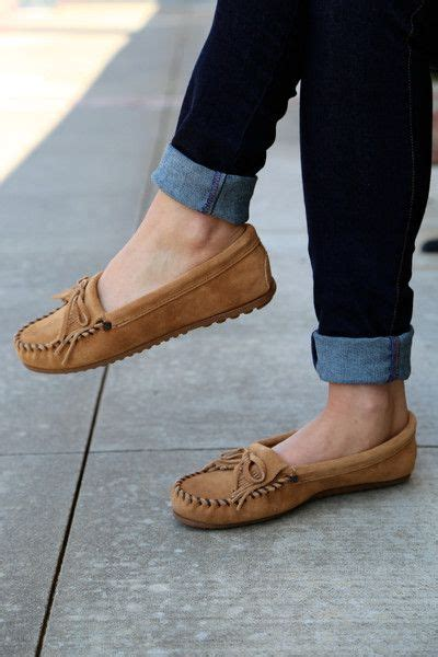Minnetonka Kilty Suede Moccasin {Taupe} | Moccasins outfit